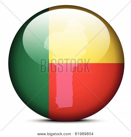 Map On Flag Button Of Republic Of Benin