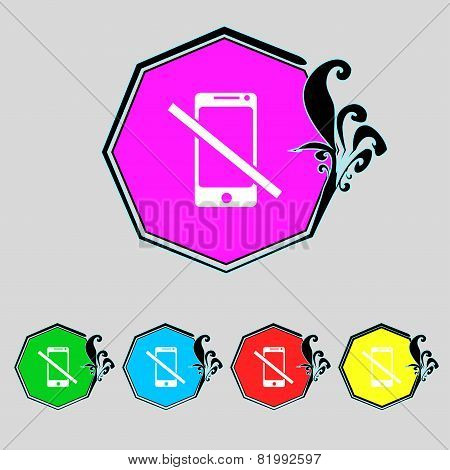 Do Not Call. Smartphone Signs Icon. Support Symbol. Call Center Prohibition Sign Stop Flat Symbol Ve