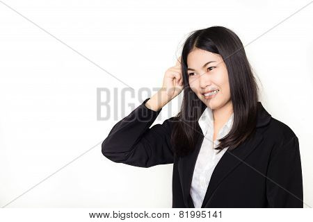 Business Asian Woman Thinking In Looking Pensive And Happy In Suit Clothes