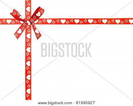 Red Ribbon And Bow With Heart Pattern