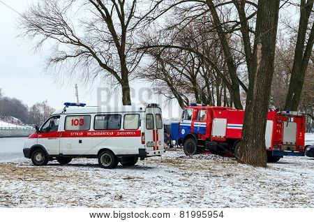 Ambulance Crews And The Emergencies Ministry At The Venue Of Carrying Out Of Epiphany Bathing