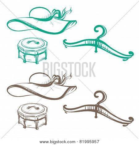 Isolated Image Of Women's Hats, Hangers And Boxes Made In The Thumbnail Style