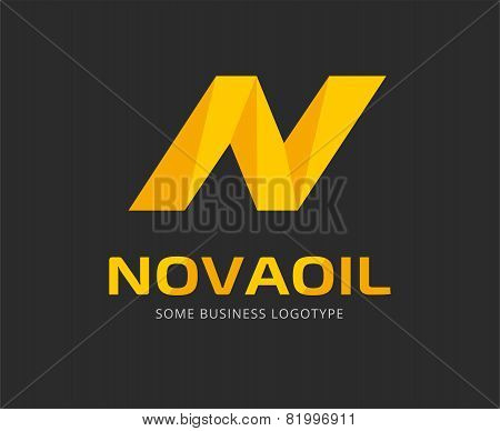 Abstract N letter vector logo template for branding and design