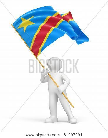Man and Democratic Republic of the Congo flag (clipping path included)