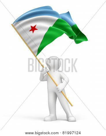 Man and Djibouti flag (clipping path included)