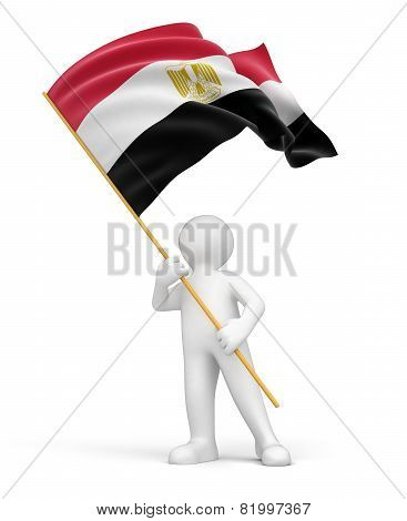 Man and Egyptian flag (clipping path included)