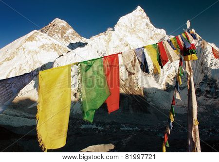 Evening View Of Mount Everest With Buddhist Prayer Flags