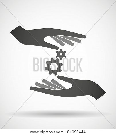 Hands Protecting Or Giving A Gears