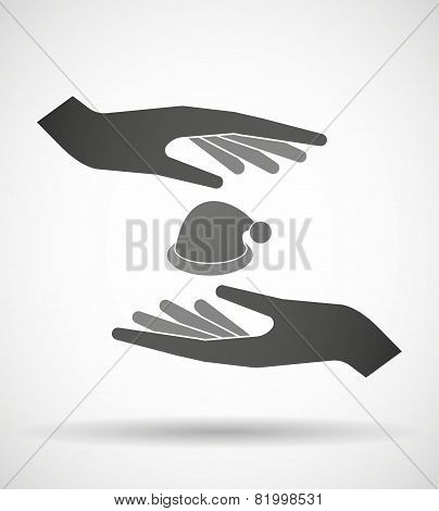 Hands Protecting Or Giving A Santa Hat