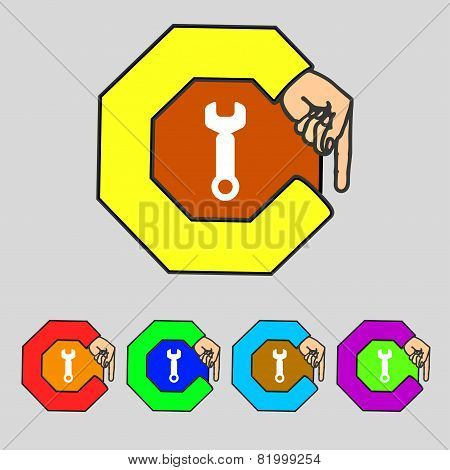 Wrench Key Sign Icon. Service Tool Symbol. Set Colourful Buttons. Vector