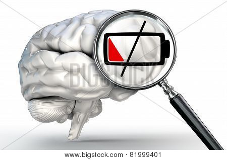 Low Energy Level On Magnifying Glass And Human Brain