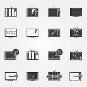 pic of tv sets  - TV repair or service icons set  - JPG