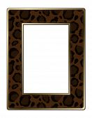 stock photo of leopard  - Black and brown leopard print photo frame with gold border - JPG