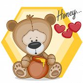 picture of cute bears  - Cute Teddy bear with honey on a yellow - JPG