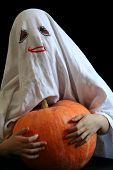 image of jack-o-laterns-jack-o-latern  - Little ghost and pumpkin - JPG