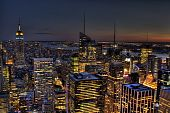 stock photo of rockefeller  - the beautiful city of new york at dusk - JPG