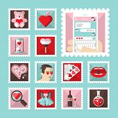 Постер, плакат: Valentines Day Love Stamps