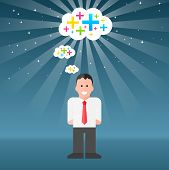 image of think positive  - Vector Businessman Thinking Positive Thoughts - JPG