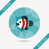 pic of long-fish  - Fish Toy Flat Icon With Long Shadow - JPG