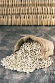 foto of phaseolus  - Sack with white beans on wooden table - JPG