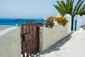 picture of greek-architecture  - Street in the old greek Fira town - JPG