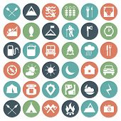 stock photo of landslide  - Camping and hiking icons set in flat style - JPG