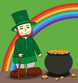 image of pot gold  - Cute cartoon Leprechaun and pot of gold - JPG