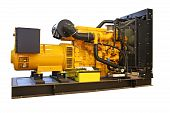 foto of generator  - Big standby generator electric power plant isolated - JPG