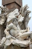 Marble Fountain in Navona Square, Rome