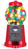 picture of gumball machine  - colorful gumball chewing gum dispenser machine on a white background - JPG