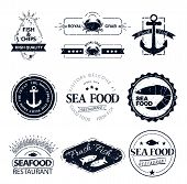 picture of lobster  - set of seafood logos - JPG