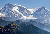 stock photo of nepali  - view of Annapurna Himal from Jaljala pass  - JPG