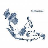 pic of southeast  - Southeast asia  map hand drawn background vector - JPG