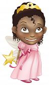 stock photo of toddlers tiaras  - An illustration of a young black girl dressed in a fairy princess costume - JPG