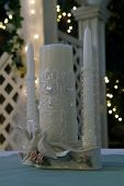image of unity candle  - unity candle on the alter on a brides wedding day - JPG
