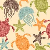 stock photo of green turtle  - Vector Seamless Pattern with turtles starfishes and jellyfishes seamless pattern in swatch menu - JPG
