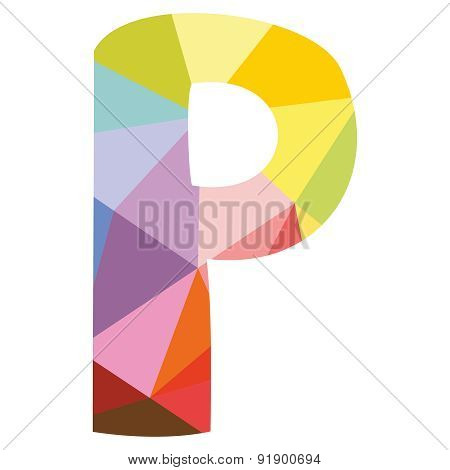 P wrapping surface vector letter isolated on white background