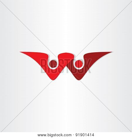 Letter W Business People Symbol