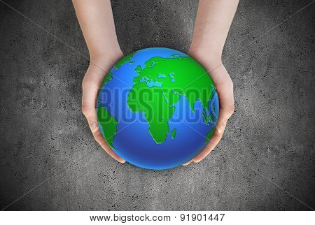 Earth Planet In Female Hands
