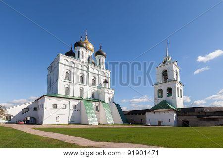 Trinity Cathedral and belfry in Pskov Kremlin