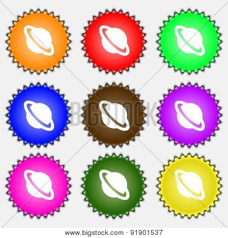 Jupiter Planet  Icon Sign. A Set Of Nine Different Colored Labels. Vector