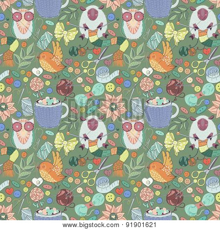 Sewing Kit Doodles. Seamless pattern with illustrations of sewing tools