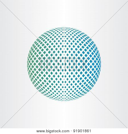 Planet Earth Abstract Globe With Square Halftones Icon