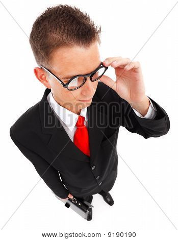 Man With Glasses And Briefcase