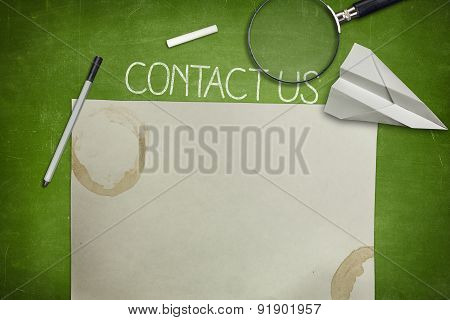 Contact us and blank application concept on green blackboard