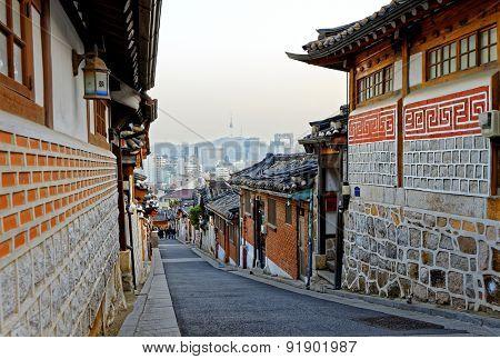 Bukchon Hanok historic district in Seoul at sunset, South Korea.