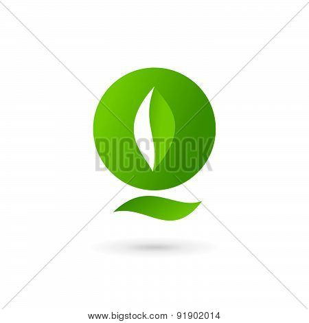 Letter Q Eco Leaves Logo Icon Design Template Elements
