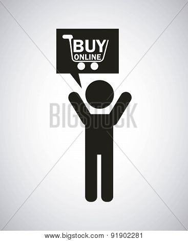 Shopping design over gray background vector illustration