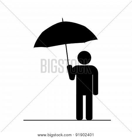 Man With Umbrella Black Vector