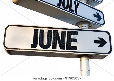 June direction sign isolated on white